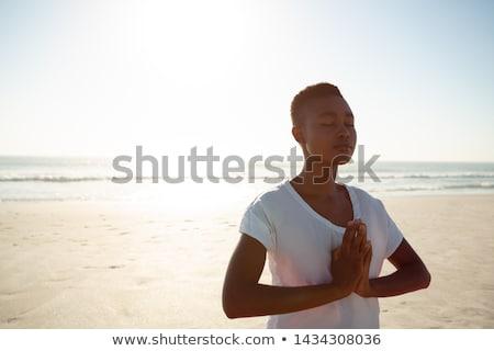 portre · mutlu · genç · kadın · yoga · tam · uzunlukta - stok fotoğraf © photography33