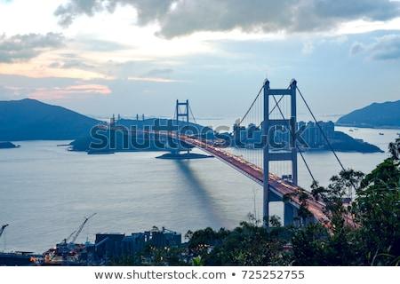 híd · naplemente · pillanat · égbolt · víz · épület - stock fotó © cozyta