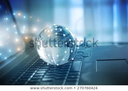 Laptop wereldbol business kaart technologie toetsenbord Stockfoto © rufous