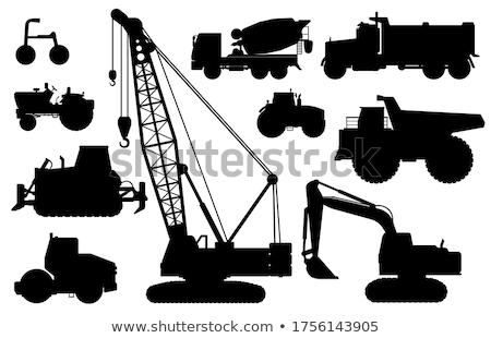 Construction vehicles silhouettes Stock photo © lkeskinen