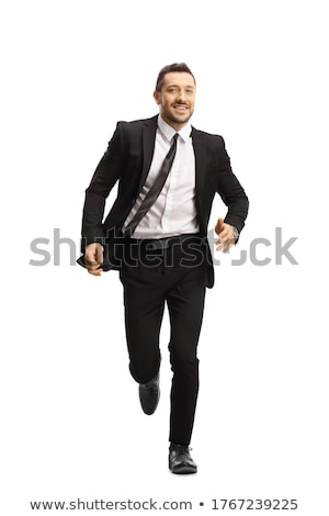 Stockfoto: Gelukkig · zakenman · lopen · man · pak · werknemer