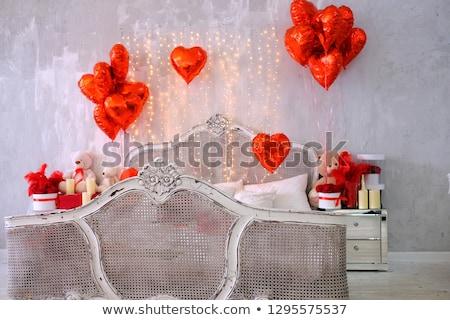Valentin nap plüssmaci pár piros léggömbök szív Stock fotó © davidgn