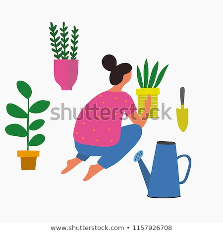 Watering Can with Spring Tulip Flowers Stock photo © davidgn