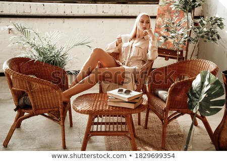 белый · Lounge · женщину · Кубок - Сток-фото © CandyboxPhoto