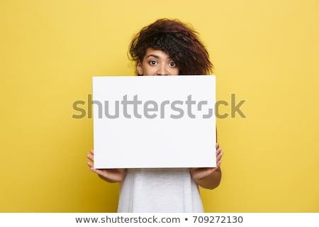 aantrekkelijke · vrouw · haren · omhoog · glimlachend · witte · schoonheid - stockfoto © filipw