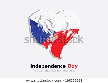 Foto stock: Imagem · coração · bandeira · República · Checa · país