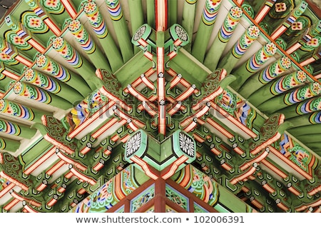 Detail of wooden painted palace building seoul south korea Stock photo © travelphotography