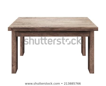 Fa asztal izolált fehér fa divat terv Stock fotó © ozaiachin