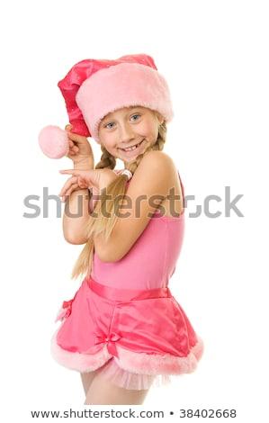 feliz · ayudante · rosa · sombrero · blanco - foto stock © dolgachov