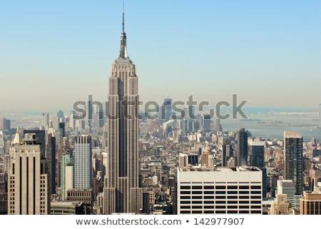 Víz torony Empire State Building ködös nap New York Stock fotó © searagen