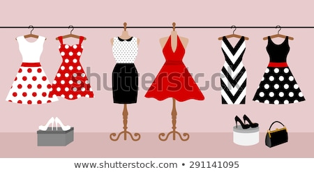 Stock photo: Women in red dress with little shopping bags