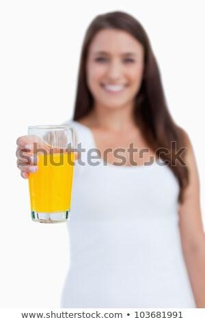 ガラス · オレンジジュース · 笑みを浮かべて · 若い女性 · 白 · 健康 - ストックフォト © wavebreak_media