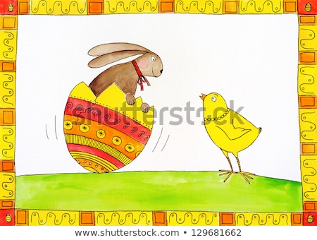 easter card childs drawing watercolor painting on canvas paper stock photo © brozova