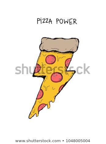 Desenho animado mão pizza desenho arte Foto stock © indiwarm