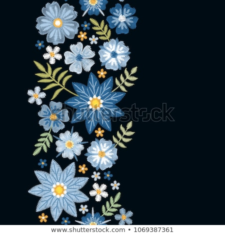 Blue embroidered flowers stock photo © yul30