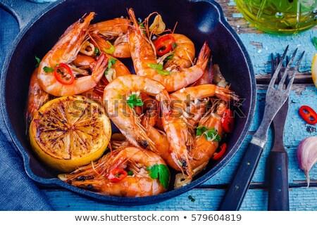 cozinhado · camarão · salsa · comida · restaurante - foto stock © M-studio