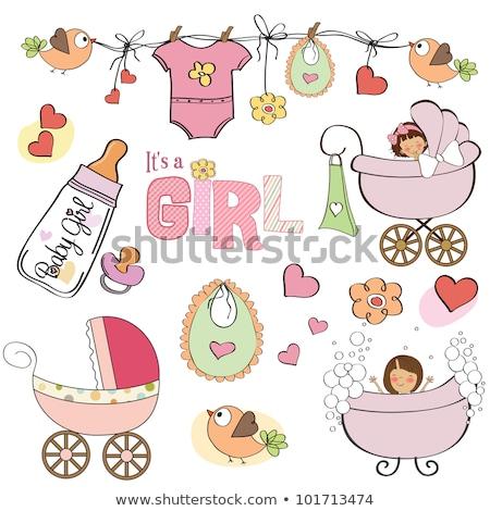 bebek · duş · elemanları · renkli · beyaz · eps - stok fotoğraf © balasoiu