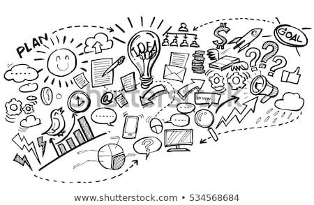 kalem · saat · iş · grafik · iş · tablo · kitap - stok fotoğraf © Lekchangply
