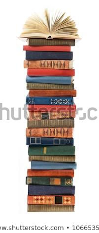 Stockfoto: Oude · boeken · Blauw · geïsoleerd · achtergrond