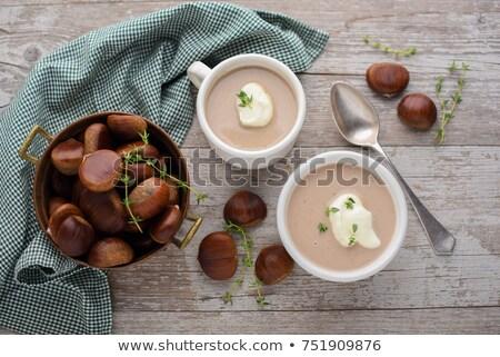 Kestane çorba gıda ahşap meyve yemek Stok fotoğraf © M-studio