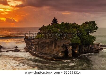 Stock fotó: Templom · sziluett · kicsi · kő · naplemente · Bali