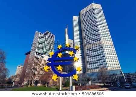 евро символ Франкфурт ночь здании искусства Сток-фото © meinzahn