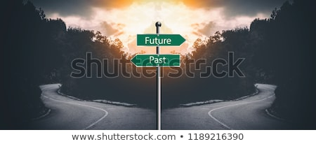 Verleden toekomst keuze Geel richting teken Stockfoto © tashatuvango