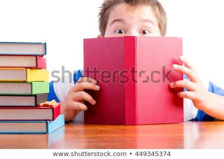 livro · mulher · olhos · de · volta · mulheres · beleza - foto stock © jayfish