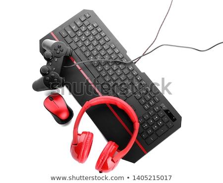 Gamepad cuffie bianco mano tecnologia nero Foto d'archivio © simpson33