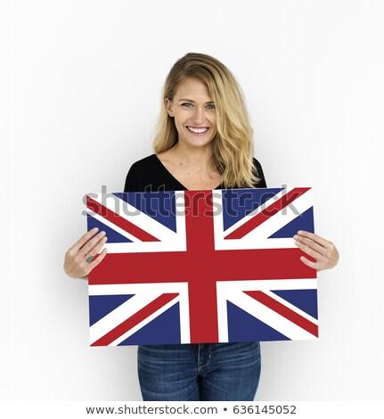 Kezek Egyesült Királyság zászló festett ujjak ima Stock fotó © stevanovicigor