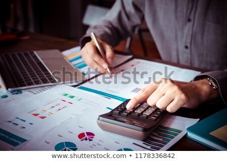 maandelijks · man · calculator · kosten · wonen · geld - stockfoto © ocusfocus
