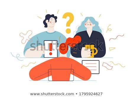 ponto · de · interrogação · fones · de · ouvido · empresário · trabalhador · corporativo - foto stock © burakowski