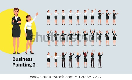 Woman pointing with both hands Stock photo © AndreyPopov