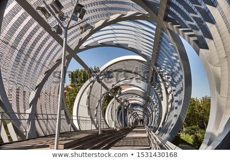 Famoso puente peatonal Madrid España edificio madera Foto stock © vwalakte