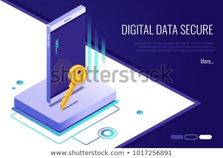 Data Security on Yellow in Flat Design. Stock photo © tashatuvango
