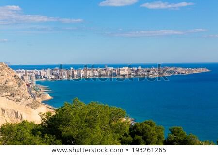 ストックフォト: サンファン · ビーチ · 表示 · サンタクロース · 城 · スペイン