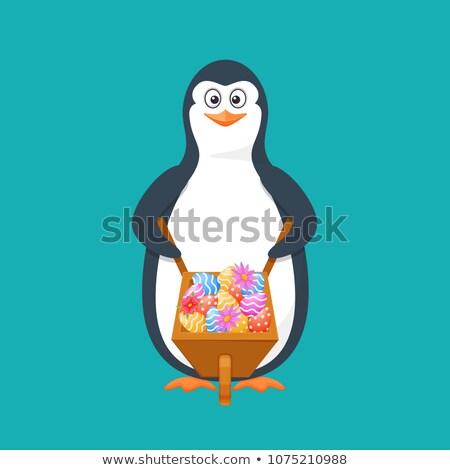Huevo pingüino felicitación huevo de Pascua Pascua tarjeta de felicitación Foto stock © LittleCuckoo