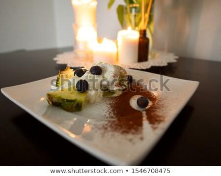 チーズケーキ · ナッツ · プレート · 孤立した · 光 - ストックフォト © ruslanomega