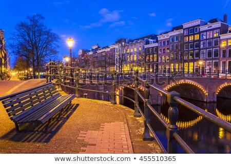 Bank Amsterdam houten straat Nederland huis Stockfoto © joyr
