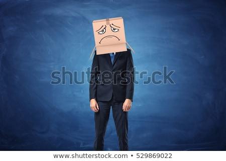 Férfi kartondoboz fej szomorú arc sír Stock fotó © stevanovicigor