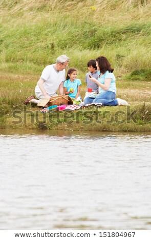 дедушка и бабушка внучата пикника берег реки женщину девушки Сток-фото © monkey_business
