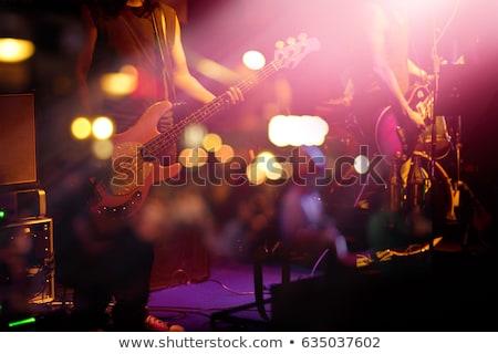 énekel · zenekar · sziluett · izolált · fehér · nő - stock fotó © blamb