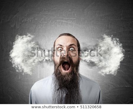 Férfi gőz fülek portré hív mobiltelefon Stock fotó © HASLOO