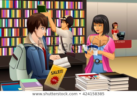 Young Man In A Bookstore Stockfoto © Artisticco