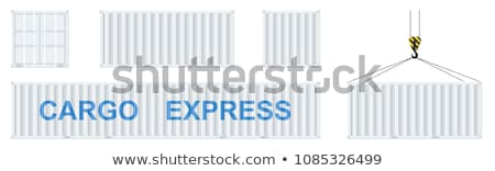 international trade   blue hanging cargo container stock photo © tashatuvango