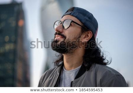 attrattivo · uomo · indossare · occhiali · Hat · studio - foto d'archivio © feedough