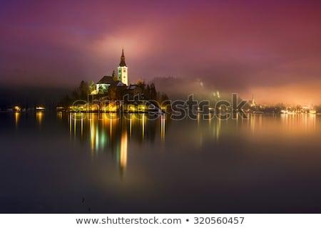 Zonsondergang Slovenië Europa alpen meer Stockfoto © kasto