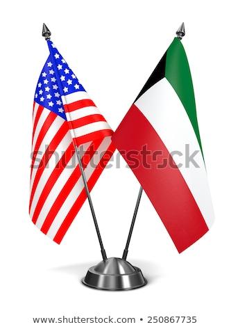 США Кувейт миниатюрный флагами изолированный белый Сток-фото © tashatuvango