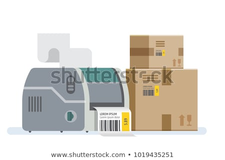 barcode label printer isolated on white stock photo © ruslanomega