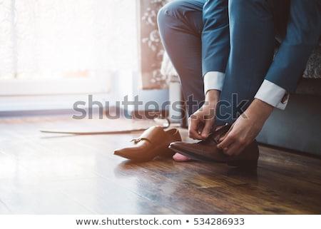 Elegancki dżentelmen skóry buty brązowy buty Zdjęcia stock © Klinker